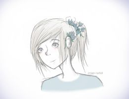 and those blue flowers up in your pony tail by crown-rachel