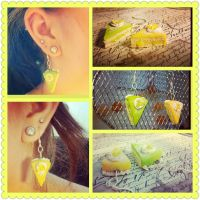 Lemon lime Cake Earrings by LimitlessDreamer