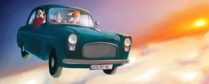 ...Or fly there in an old Ford Anglia ! by Jadelianne