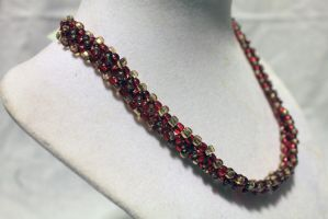 Red n' Gold Choker - FOR SALE by Thy-Darkest-Hour