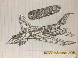 Futuristic Fighter drawing by B737TheAirliner