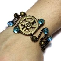 Steampunk blue Bracelet by CatherinetteRings