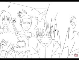 Naruto and friends lineart by swayanouk