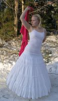 White Gown Red Scarf Playing by Eirian-stock