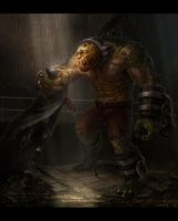 Killer Croc vs. Batman by Bogdan-MRK