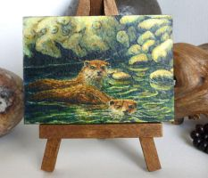 ACEO Otters in sacred spiral spring by CelynsCorner