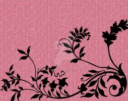 Pink with Black Flowers Mosaic by NolaOriginals