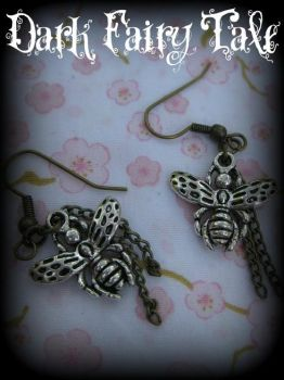 Bumble Bee Earrings by demon-empress
