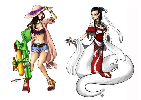 Pool Party Caitlyn and White Snake Cassiopeia by mayumi-yue