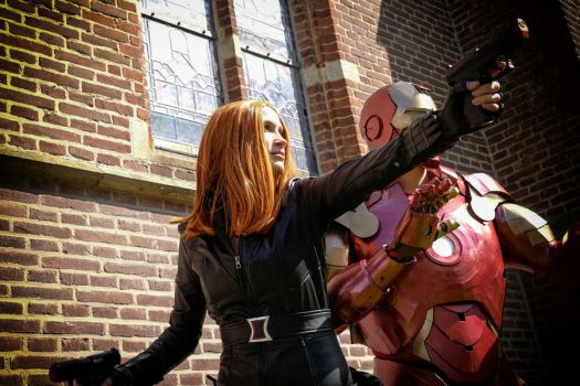 Cosplay Black Widow and Iron Man by shrye
