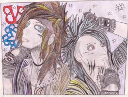 Andy Biersack and Ashley Purdy Coloured Drawing by Evil-Sapphire