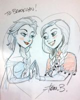 Indy Pop Elsa and Anna by tombancroft