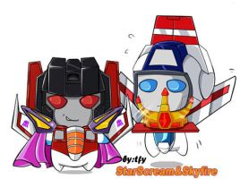 Skyfire and Starscream by tfylulu