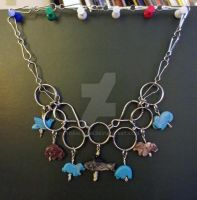 Animal Party Chainmail Steampunk Necklace by LyraAlluse