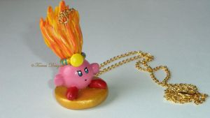 Fire Kirby Pendant Necklace Handmade Custom OOAK by TorresDesigns