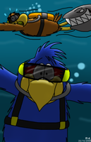 Scuba Pete and Squawks by BluebottleFlyer
