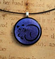 Calligraphy Cat Fused Glass Pendant Purple by FusedElegance