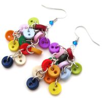 Round Rainbow Button Earrings by fairy-cakes
