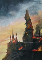WIP Burning Hogwarts: Day 4 by goldenConnpass