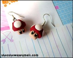 .:Mario mushroom earrings:. by SaMtRoNiKa