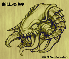 Hellhound Digital Sketch by RedBladeStudios