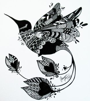 zentangle hummingbird by Bowgirl5