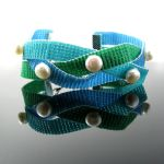 Bead loomed and braided bracelet with pearls by CatsWire