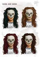 Character concepts Hair and Skin by Zaefyra