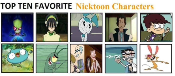 Top Ten Favorite Nicktoon Characters by mlp-vs-capcom