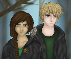 Katniss and Peeta by Blueflower8