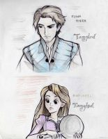 Rapunzel and Flynn Rider by papelmarfil