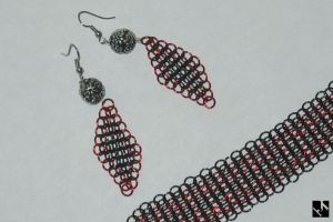 Black and Red Mail Earrings by JeremyMallin