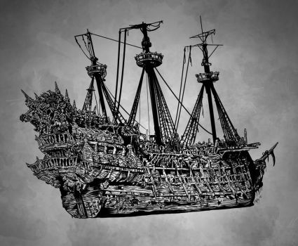 Hand Drawn Pirate Ship by carbonism