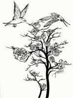 two birds meet over rose tree by feanne