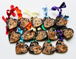 Love tokens - Felines, Canines and Deer by BumbleBeeFairy