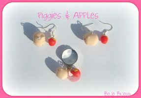Piggies and apples Earrings by Bojo-Bijoux
