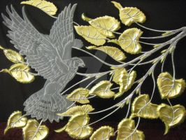 Falcon and Aspen Leaves by HouseofChabrier