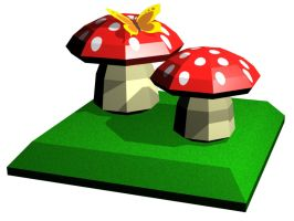 Mushrooms Paper Model Children by PixelOz