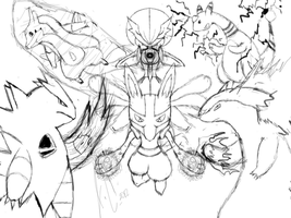 My 2nd Pokemon Team Sketch by JamalC157
