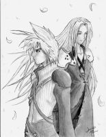 Cloud and Sephiroth by adventdaughter