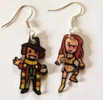 4th Doctor and Leela earrings by Lovelyruthie