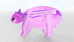 Giant Pink Wombat with Party Hat by ManyardButler