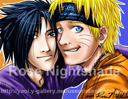 Naruto and Sasuke AU by RoseNightshade