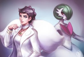 Champion Diantha and Mega Gardevoir by jaeon009