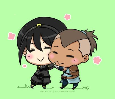Toph and Sokka BFF Hug by moehoshi-ii