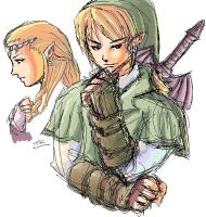 Link and Zelda sketch by kashigi