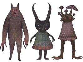 Werecreature, Earwig Girl and the Lurker by V-L-A-D-I-M-I-R