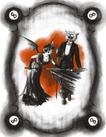 Halloween couple playing billiards by Avalensch