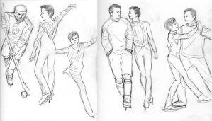 Glee sketches ICE SKATING AU by bluestraggler