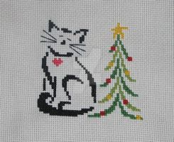 Cross Stitch Christmas Cat by Enithien